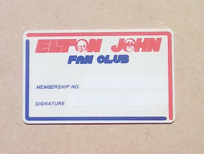 Elton John 1980's ORIGINAL fanclub membership card