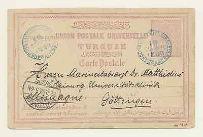 Turkish Off. Postcard; Constantinople to Göttingen, 1898. IsfilaNr. AN33 [#A125]
