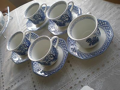 J & G Meakin, Willow, Set Of 5 Cups And Saucers, Royal Staffordshire , Liberty.