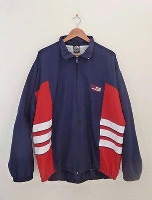 Men's Adidas Size Xl Zip Front Tracksuit Jacket Navy & Red 3 Stripes