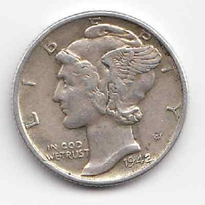 1942 Philadelphia USA One Dime Mercury Dime Extremely Nice coin Take a Look