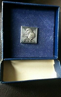 collectible 25 year silver Ford pin in original box