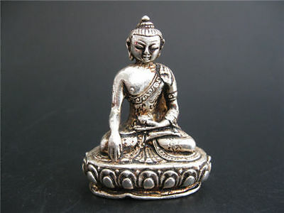 TIBET DECORATED HANDWORK OLD MIAO SILVER CARVED Tibet Buddha WONDERFUL STATUE NR