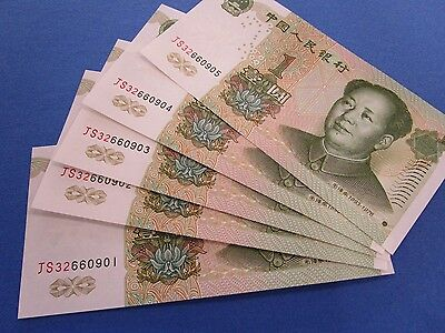 "1999  China  5 x 1 Yuan "" Mao""  Consecutive UNC Notes."