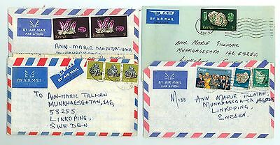 Kenya A53 4 pcs Covers used 70s yrs Air Mail