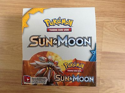 Display box from Pokemon: Sun and Moon Booster Pack Trading Cards