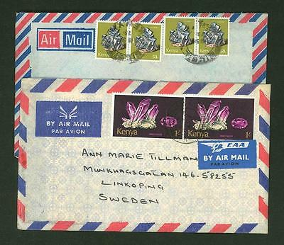 Kenya A62 2 Covers 70s yrs Air Mail used