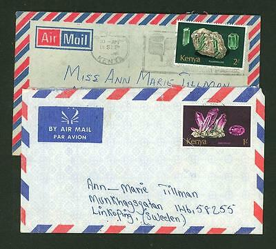 Kenya A63 2 Covers 70x yrs Air Mail used