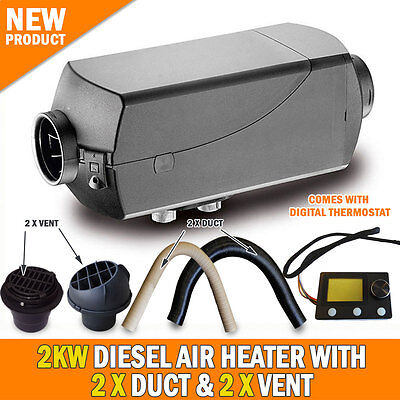 NEW 2KW Diesel Air Heater 2 x Vents and Duct Digital Thermostat Caravan