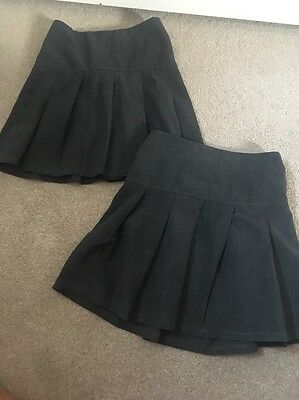 Girls M & S Pleated School Skirts Age 4-5 Years Good Condition.