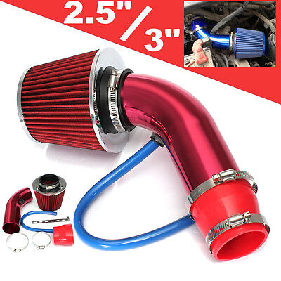 "Red 2.5""-3.0"" Universal Cold Air Intake Induction Hose Pipe Kit System Filter"
