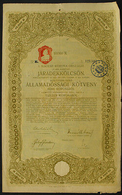 Ungarn Kingdom of Hungary State bond 10000 Kronen 1917 uncancelled coupons