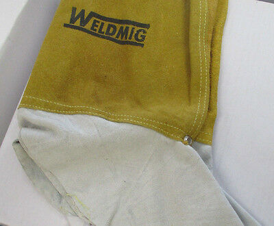1 Pair of 12'' Gold Leather Gaitors ~ Spats. Kevlar Stitched - Welding / Cutting