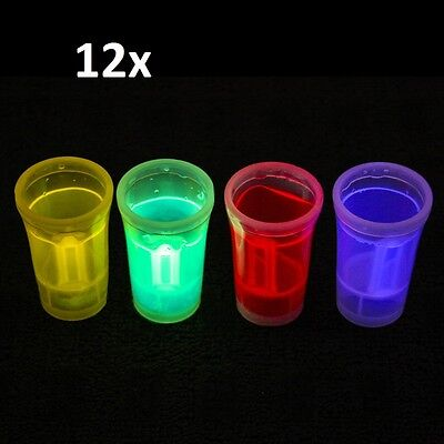 Set of 12 Shot Cups Glow in The Dark 36ml Cup Drinking Entertaining Bar Parties