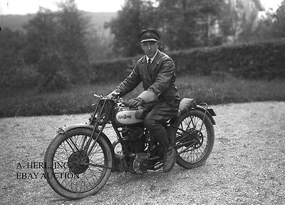 Raleigh motorcycle rider 1920s photo photograph