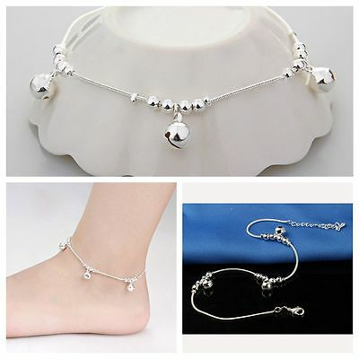Fashion Jewelry Ankle Bracelet Bells Bead Foot Anklet Silver Plated Chain