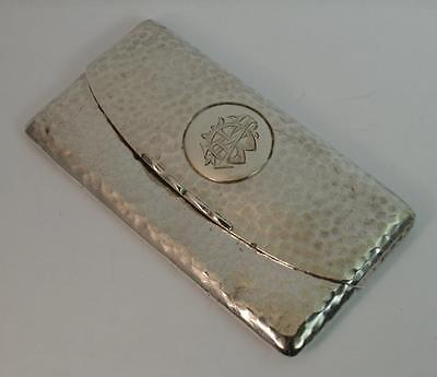 1908 Edwardian Sterling Silver Card Case with Hammered Finish