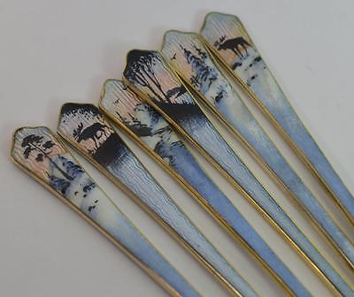 Beautiful Set of Six Two Sided Enamel and Solid Silver Forks in Box