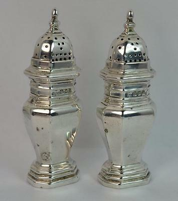 1903 Edwardian Solid Silver Pair of Salt and Pepper Cruets