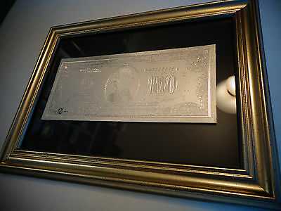 Us - 2 Dollar Silver New Bill -Each In Nice Frame - Great Collectible Gift-Rare