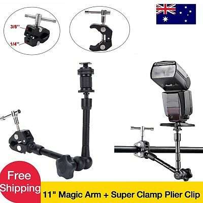 "11"" Magic Arm Tripod W/Super Clamp Plier Clip For Camera LED Light LCD Monitor"