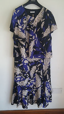Windsmoor Ladies Blue/black/cream Special Occasion 2 Piece Skirt Suit Size 18/20