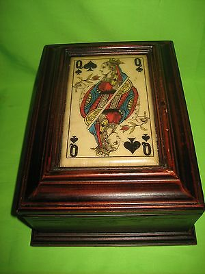 Rare Antique / Vintage Wooden Mahogany  Decorated  Playing Card Box