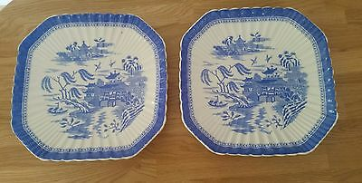 Vintage blue and white plates, temple, shabby chic, chinese, oriental, ridged x2