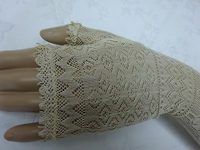 Beautiful Antique Silk Mittens Mitts Gloves Victorian 19th C Knitted Fingerless