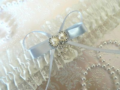 Wedding Garter Ivory-  Double Hearts -Pearl Look -Free Pouch