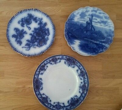 Vintage blue and white plates, windmill, floral, gold trim, shabby chic, x 3