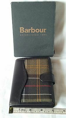 Genuine Barbour Tartan Leather Covered Organiser Wallet Purse Card Holder Cover