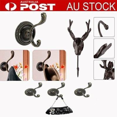 metal clothes hooks robe hanger hat coat antique bronze kitchen bathroom LOT BU
