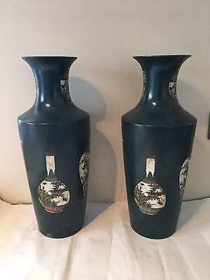 Unusual Pair Chinese Vases With Vase Decoration Deep Green Decorative