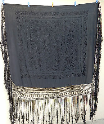 Antique Beautiful Chinese Hand Embroidered Silk Piano Shawl Ps63