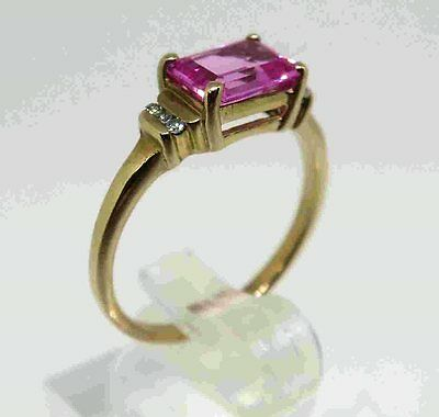 9ct SOLID GOLD Ring with PINK SAPPHIRE & Diamonds   SIZE N ( 7 )