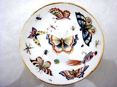 Rare English Porcelain Bristol - Derby Porcelain Saucer With Butterflies C1775