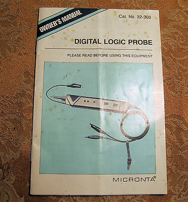 Radio Shack Micronta 22-303 Digital Logic Probe Owners Manual Instructions
