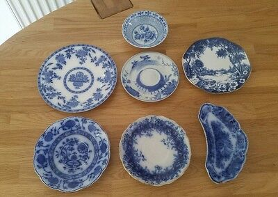 Vintage blue & white plates bowl oriental temple x 7, Shabby Chic, see photos