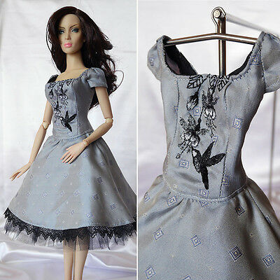"Luxury OOAK hand embroidered silk dress, outfit for 16"" Doll Sybarite GenX"