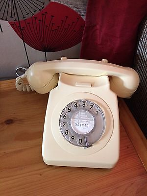 Original GPO rotary dial cream telephone model 746, RECONDITIONED & WORKING