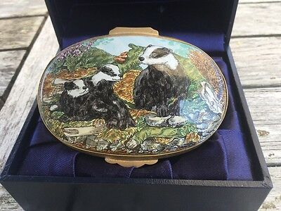 "Rare Crummles Enamel Box ""A Playful Moment"" Badgers"