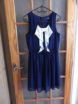 Atmosphere Navy Blue Dress with Large Cream Bow size 14