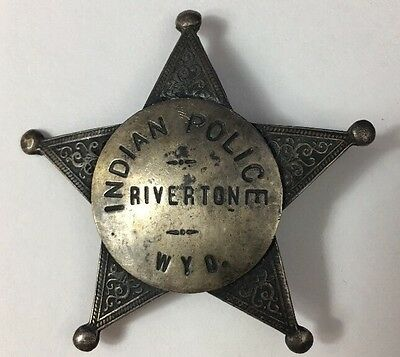 Antique Obsolete Sterling Silver Indian Police Badge Riverton Wyo. Look! Rare!