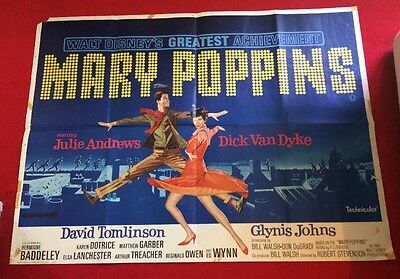 "1964 Original Uk Quad And Film Poster ""mary Poppins""dick Van Dyke,julie Andrews"