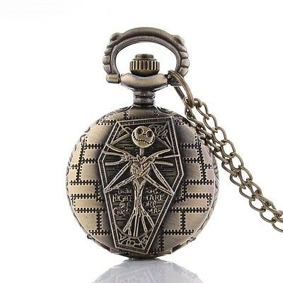 Cute Mini Nightmare Before Christmas Bronze Pocket Watch Pendant Necklace + Gift