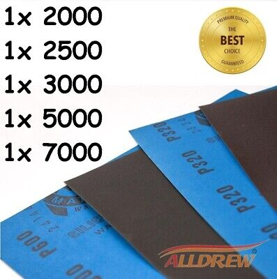 WET AND DRY SANDPAPER 2 OF EACH GRIT 800 1000 1200 1500 2000 MIXED Pack of 10