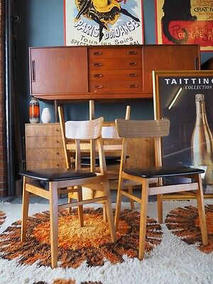 Mid Century Retro Danish Style Teak Dining Chairs 4 UK DELIVERY AVAILABLE