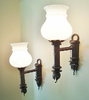 SUPERB PAIR WROUGHT IRON SCONCES WALL LIGHTS WHITE GLASS SHADES 1970's