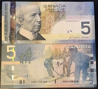 "Mint UNC. 2006 ""Canadian Journey Series"" Five Dollar Note Ser# AOK4108369"